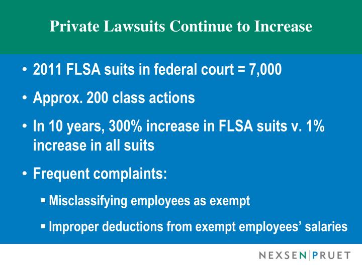 Private Lawsuits Continue to Increase