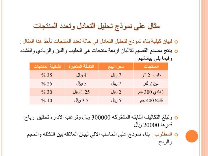 مثال على نموذج تحليل التعادل وتعدد المنتجات