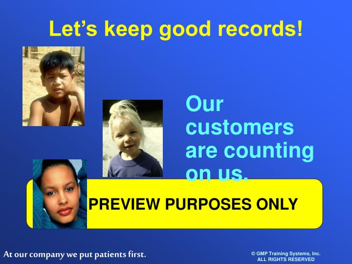 Let's keep good records!