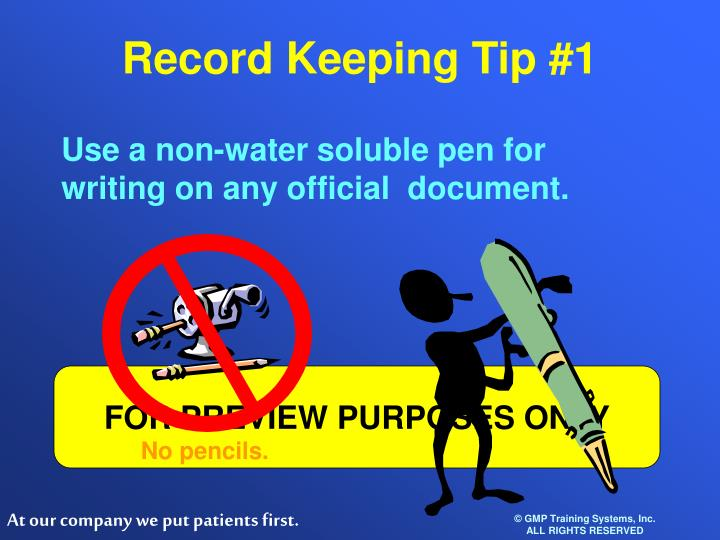 Record Keeping Tip #1