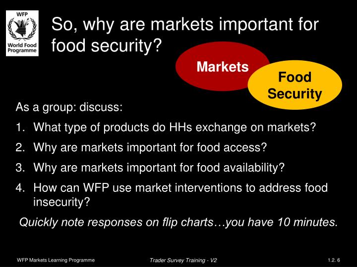 So, why are markets important for food security?