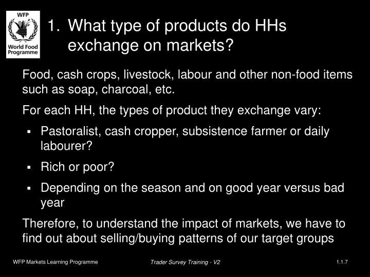 What type of products do HHs exchange on markets?