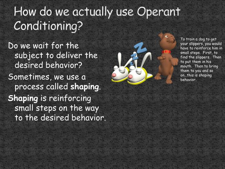 How do we actually use Operant Conditioning?