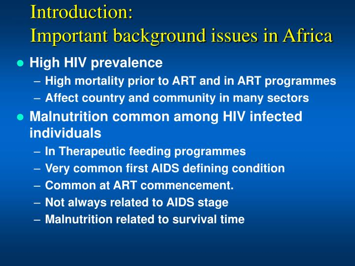 Introduction important background issues in africa