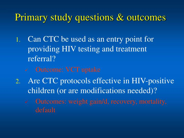 Primary study questions & outcomes