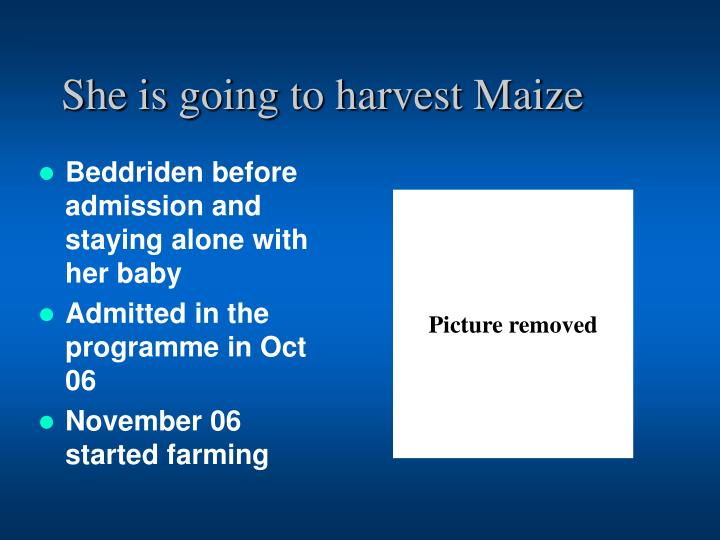 She is going to harvest Maize