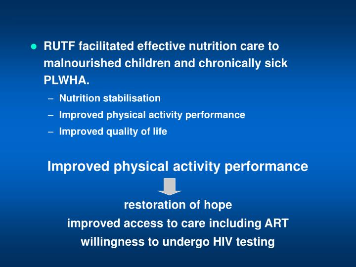 RUTF facilitated effective nutrition care to malnourished children and chronically sick PLWHA.