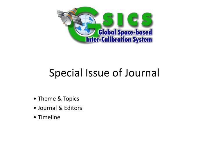 Special issue of journal