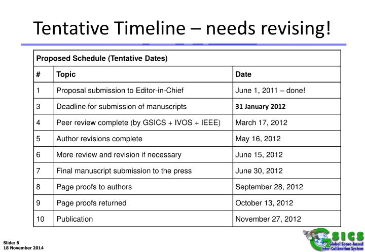 Tentative Timeline – needs revising!