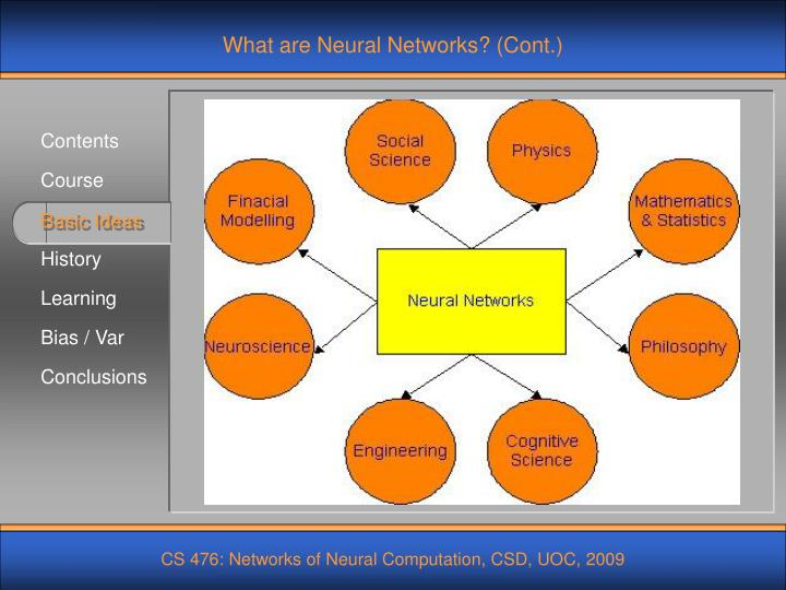 What are Neural Networks? (Cont.)