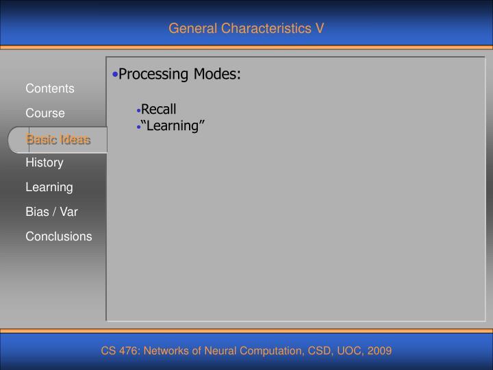 General Characteristics V