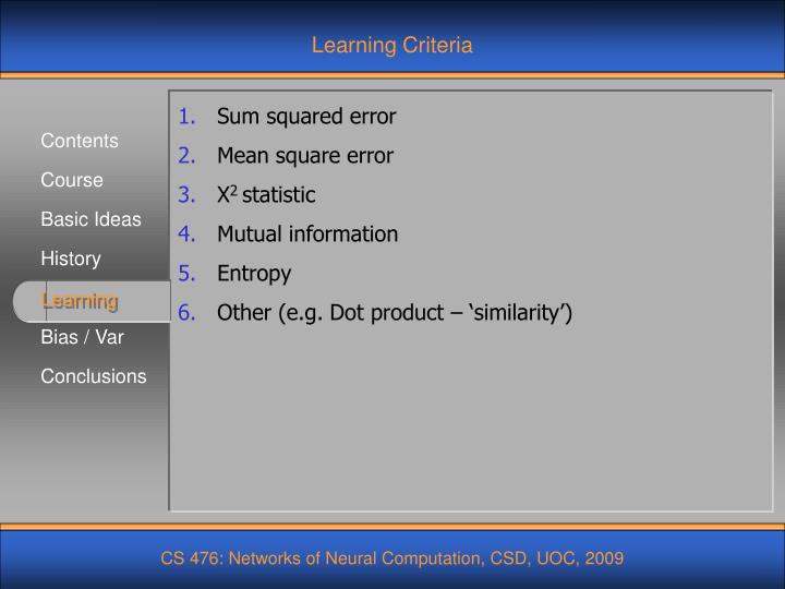 Learning Criteria