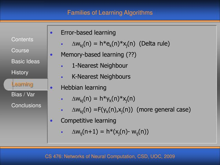 Families of Learning Algorithms