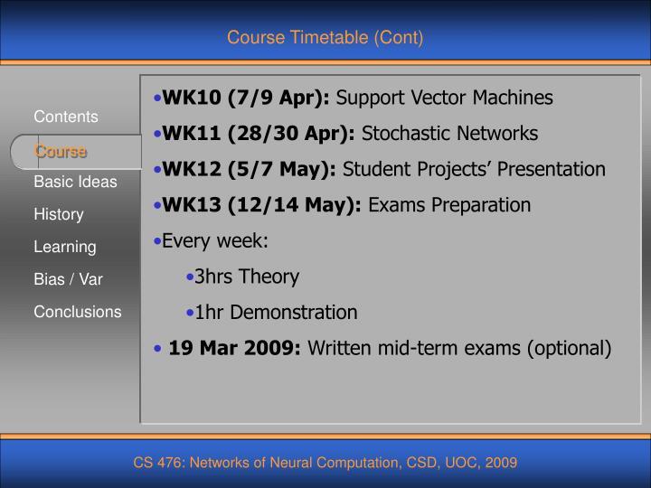 Course Timetable (Cont)