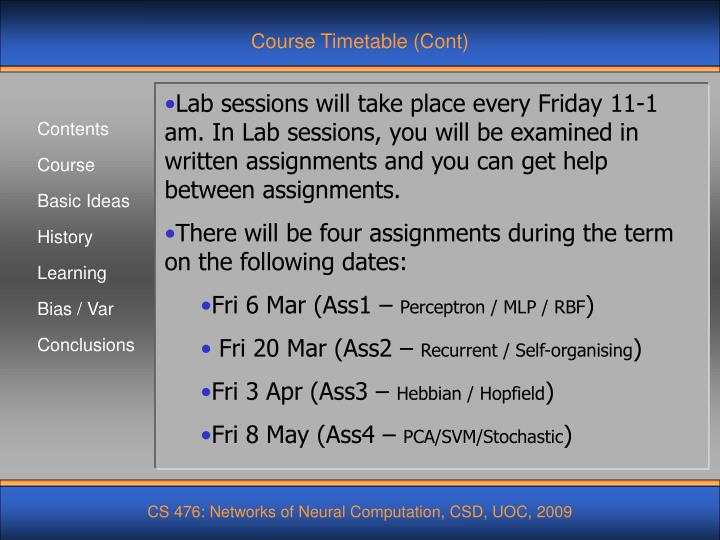 Course Timetable (Cont)