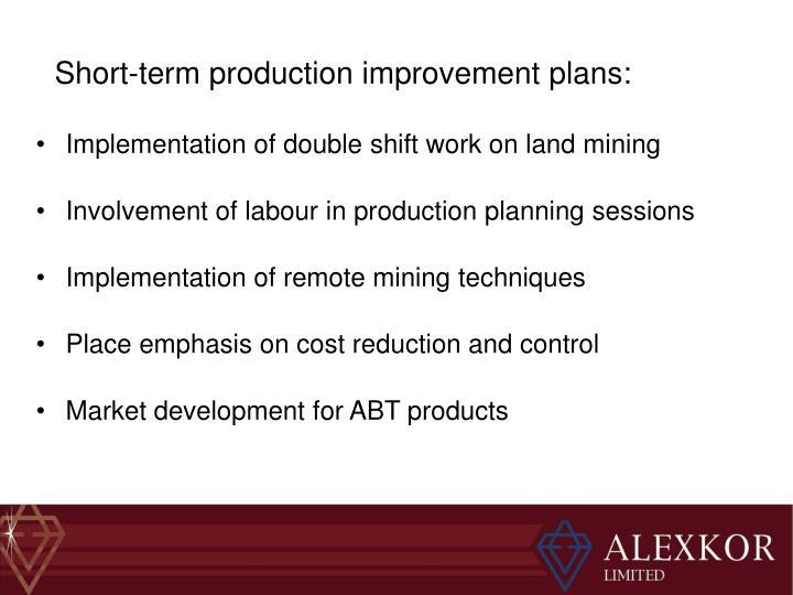 Short-term production improvement plans: