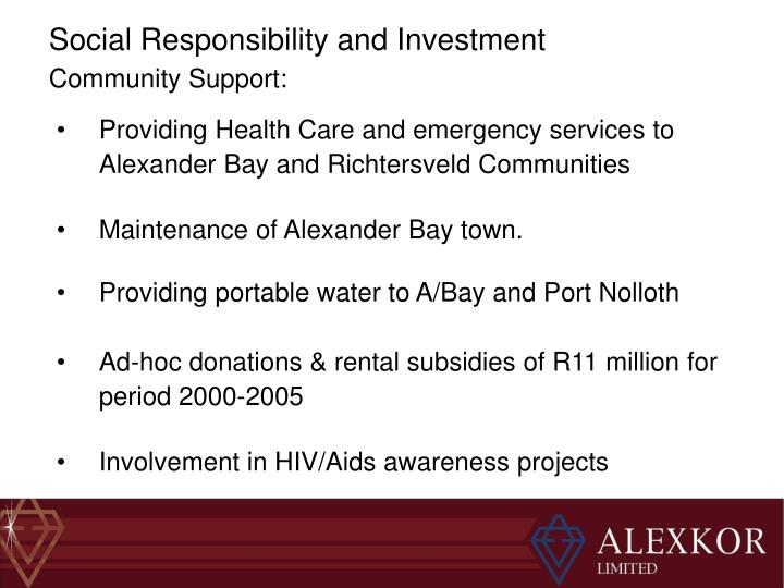 Social Responsibility and Investment