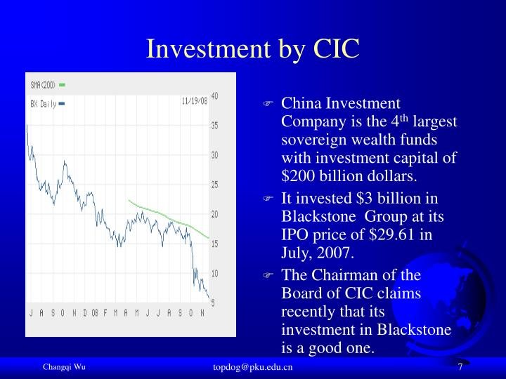 Investment by CIC
