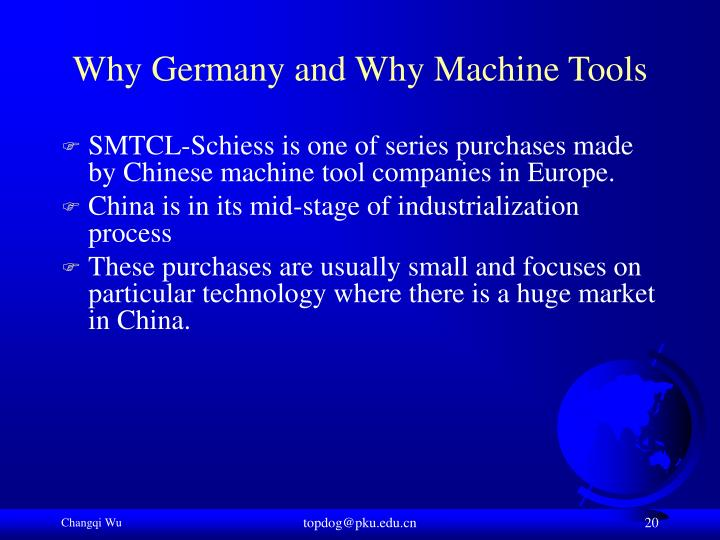 Why Germany and Why Machine Tools