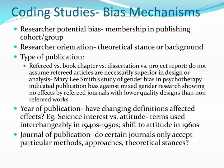 Coding Studies- Bias Mechanisms
