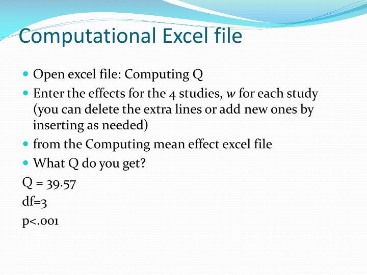 Computational Excel file