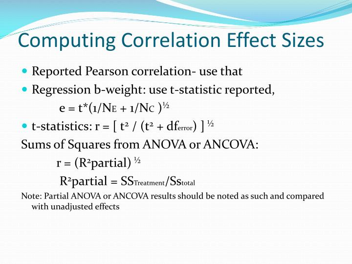 Computing Correlation Effect Sizes