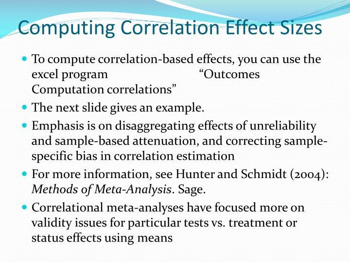 Computing Correlation Effect Sizes