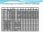 computing correlation effects example