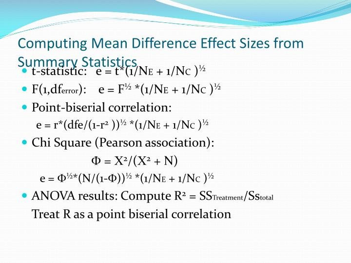 Computing Mean Difference Effect Sizes from Summary Statistics