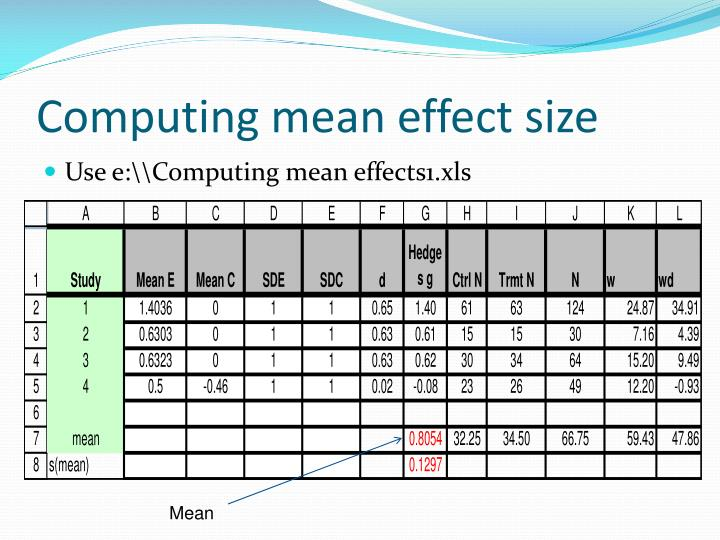 Computing mean effect size