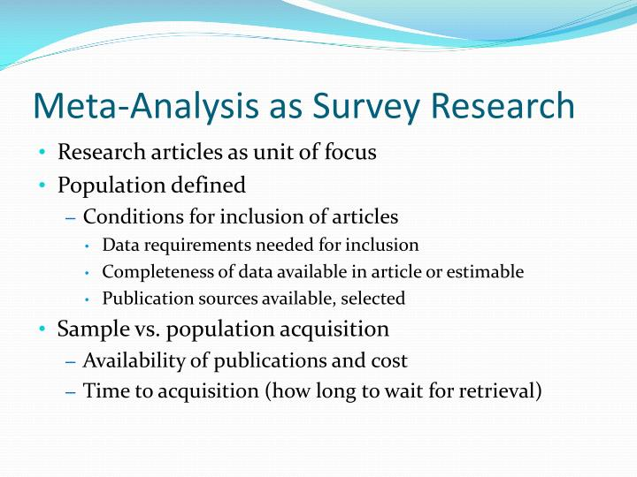 Meta-Analysis as Survey Research