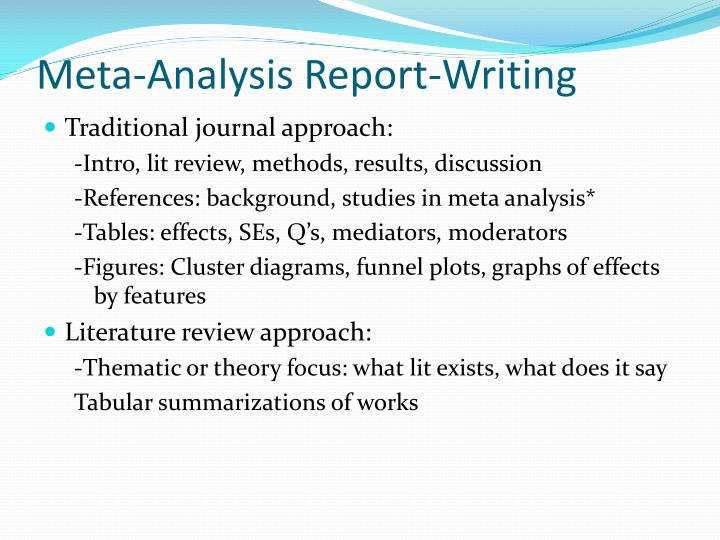 Meta-Analysis Report-Writing