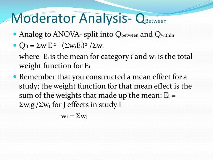 Moderator Analysis- Q
