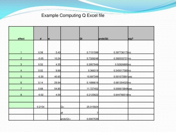 Example Computing Q Excel file
