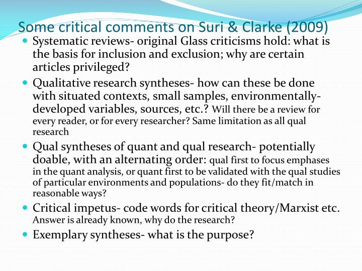 Some critical comments on Suri & Clarke (2009)