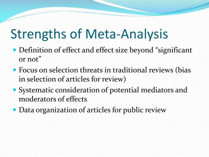 Strengths of Meta-Analysis