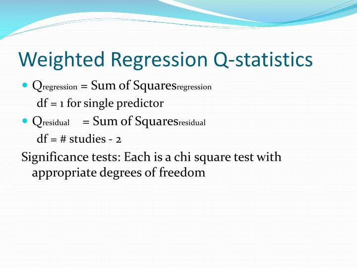 Weighted Regression Q-statistics