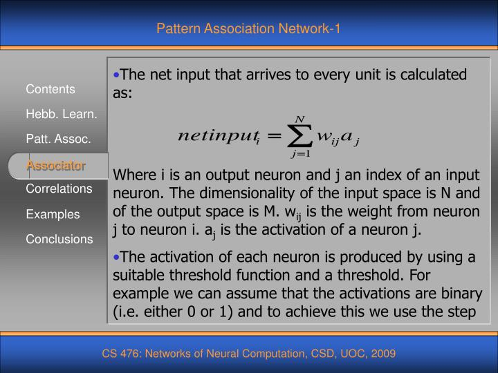 Pattern Association Network-1