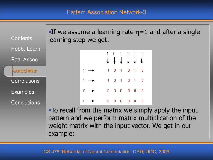 Pattern Association Network-3
