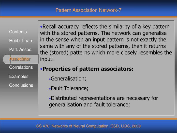 Pattern Association Network-7