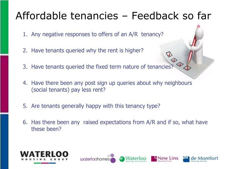 Affordable tenancies – Feedback so far