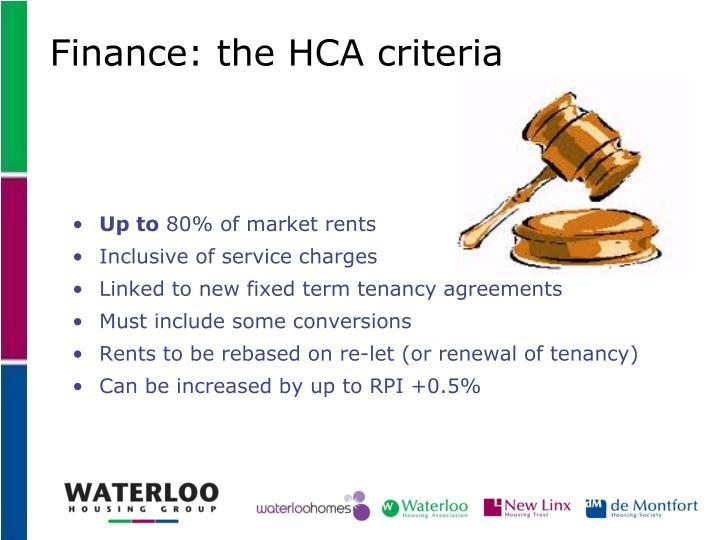 Finance: the HCA criteria
