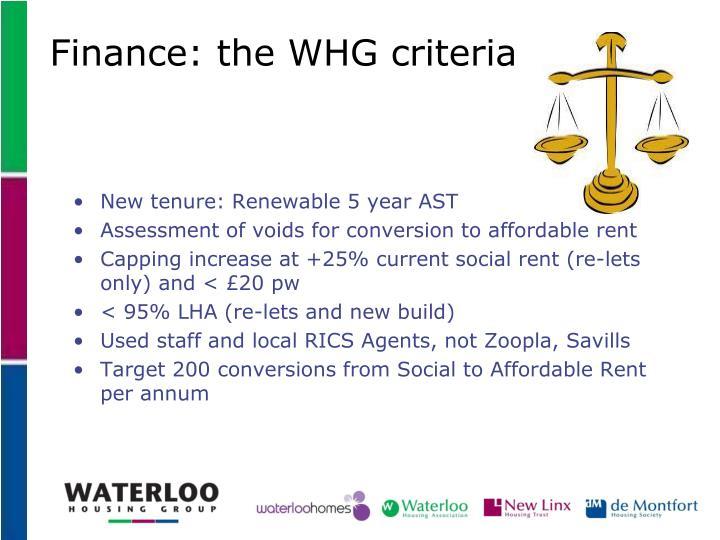 Finance: the WHG criteria