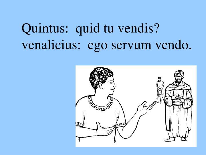 Quintus:  quid tu vendis?