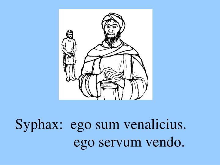 Syphax:  ego sum venalicius.