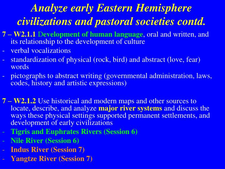 Analyze early Eastern Hemisphere civilizations and pastoral societies contd.