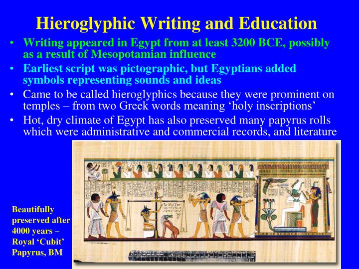 Hieroglyphic Writing and Education