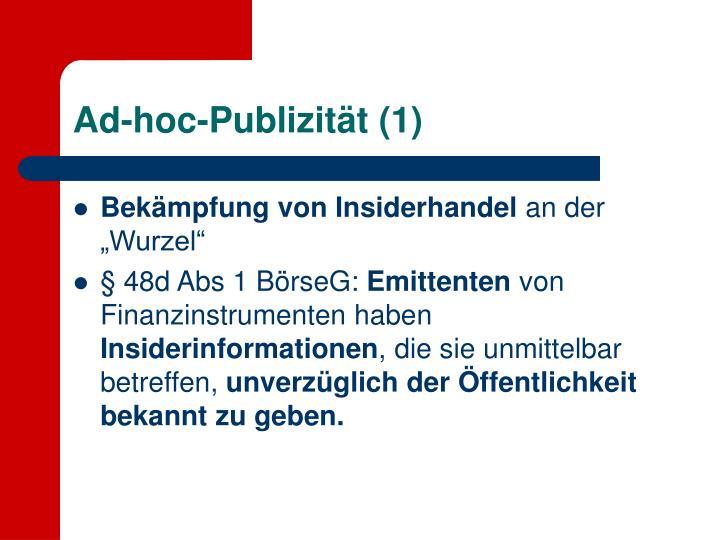 Ad-hoc-Publizität (1)