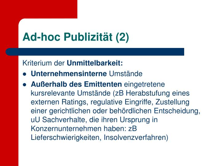 Ad-hoc Publizität (2)