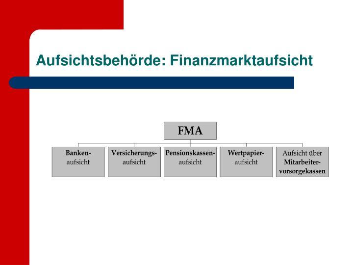 Aufsichtsbehörde: Finanzmarktaufsicht